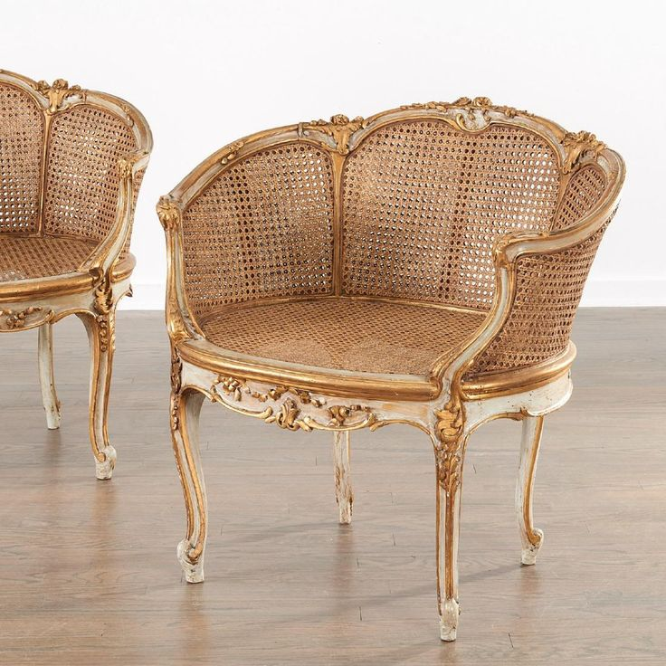 Pair Louis XVI style corbeille settee chairs