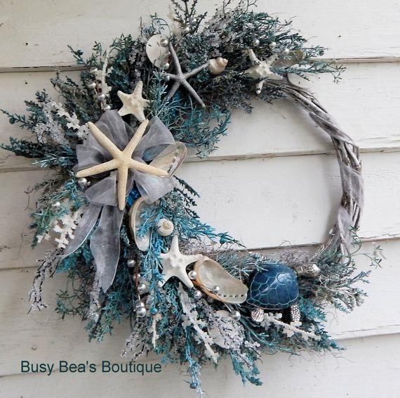 Beach House Wreath Starfish Beach: Beach Wreath Seashell Wreath Porch Wreath Ocean Wreath Sunroom Wreath Seashore Wreath Door Wreath