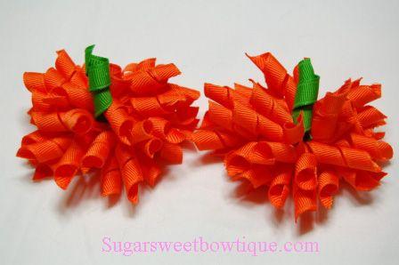 Halloween Pumpkins Korker Hair Bow