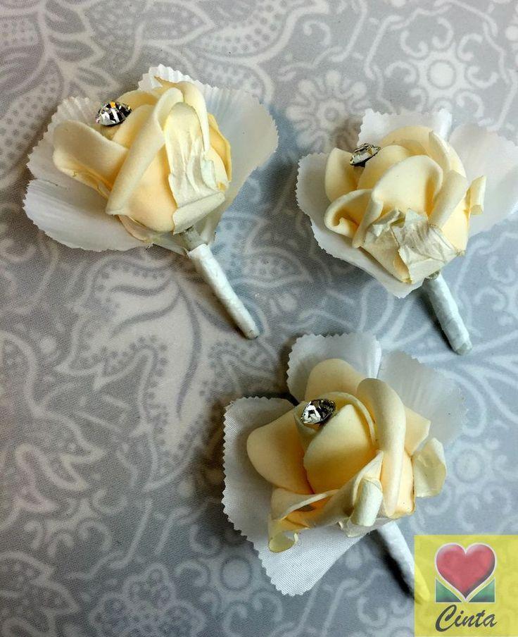 3 X Champagne Foam Diamante Rose Buttonholes Wedding Silk Flower.cintahomedeco