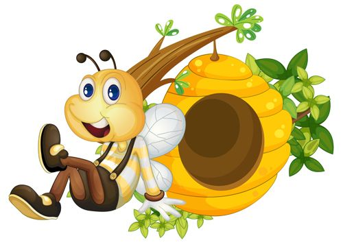 Cartoon Bee Beehive Bees Insects Boxes Skep