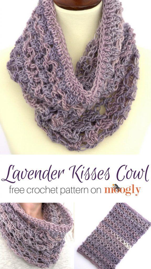 Lavender Kisses Cowl - free crochet pattern on Mooglyblog.