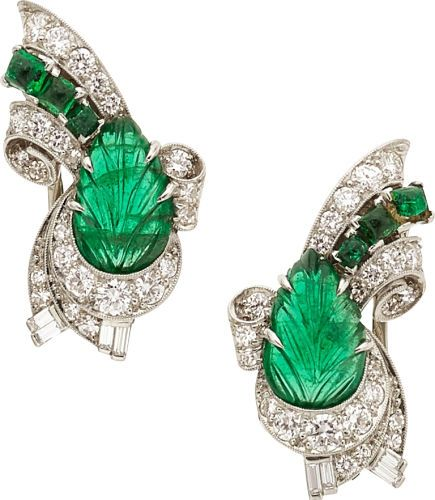 Estate Jewelry:Earrings, Art Deco Diamond, Emerald, Platinum, Gold Earrings, Raymond Yard....