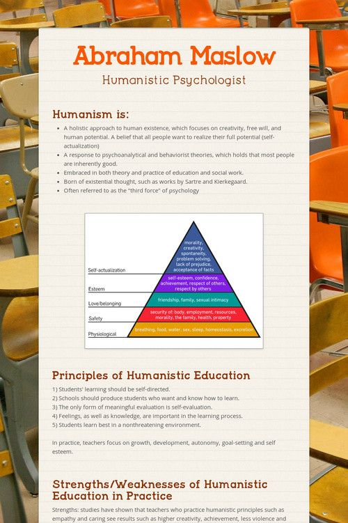 overview of abraham maslows theories on education Psychologist abraham maslow spent his career  you should be able to list maslow's hierarchy of needs,  unlock your education.
