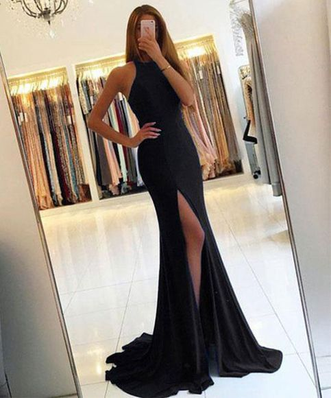 Simple Mermaid Jewel Sleeveless Split Front Black Long Prom Dress With Cut Out from Dressywomen