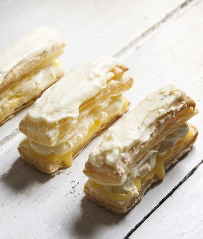 Napoleons  3-4 sheets puff pastry 2 cups icing sugar 2 tablespoons butter, softened Boiling water 1 tablespoon passionfruit pulp Lemon curd ...