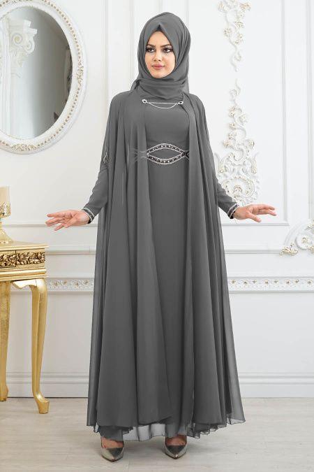 b603079680e4c Tesettürlü Abiye Elbise - Pelerinli Füme Tesettür Abiye Elbise 8094FU -  Tesetturisland.com