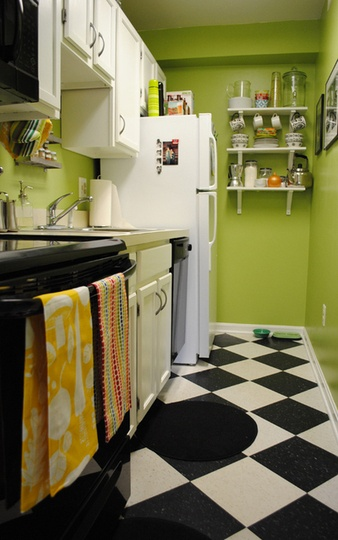 Lime green black and white kitchen from apartment - Black and lime green kitchen ...