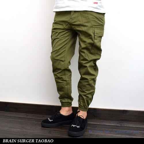 Fashion Colors for 2014 | 2014 summer autumn men slim fit pure color fashion black pants joggers ...