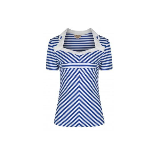 Retro top Lindy Bop Rosaline Blue Stripe Nádherný top s modro-bílým proužkem v námeřnickém stylu. Obléknete ho k sukni, džínám i kraťasům a stále budete TOP, ať budete kdekoli. Zajímavě řešený dekolt, zdobený malými klopami s knoflíky, krátký rukávek, skvěle protáhne siluetu. Příjemný, lehký, pružný materiál (65% polyester, 30% rayon, 5% elastan).