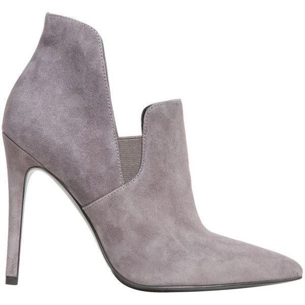 Kendall + Kylie Amber suede ankle boot (290 AUD) ❤ liked on Polyvore featuring shoes, boots, ankle booties, grigio, grey ankle boots, grey suede booties, grey suede bootie, short boots and suede booties
