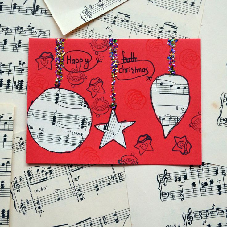 use music paper for collaged christmas cards