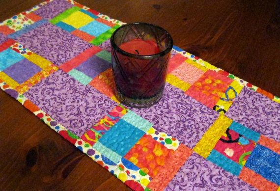 Multi Colors Table Runner, Pink and Purple Placemats, Yellow Table Runner, Many Colors Quilted Table Runner, Quilted Placemats by DesertSkyQuilts on Etsy