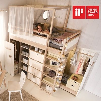SPOT HIGH SLEEPER STORAGE KIDS BED in Acacia