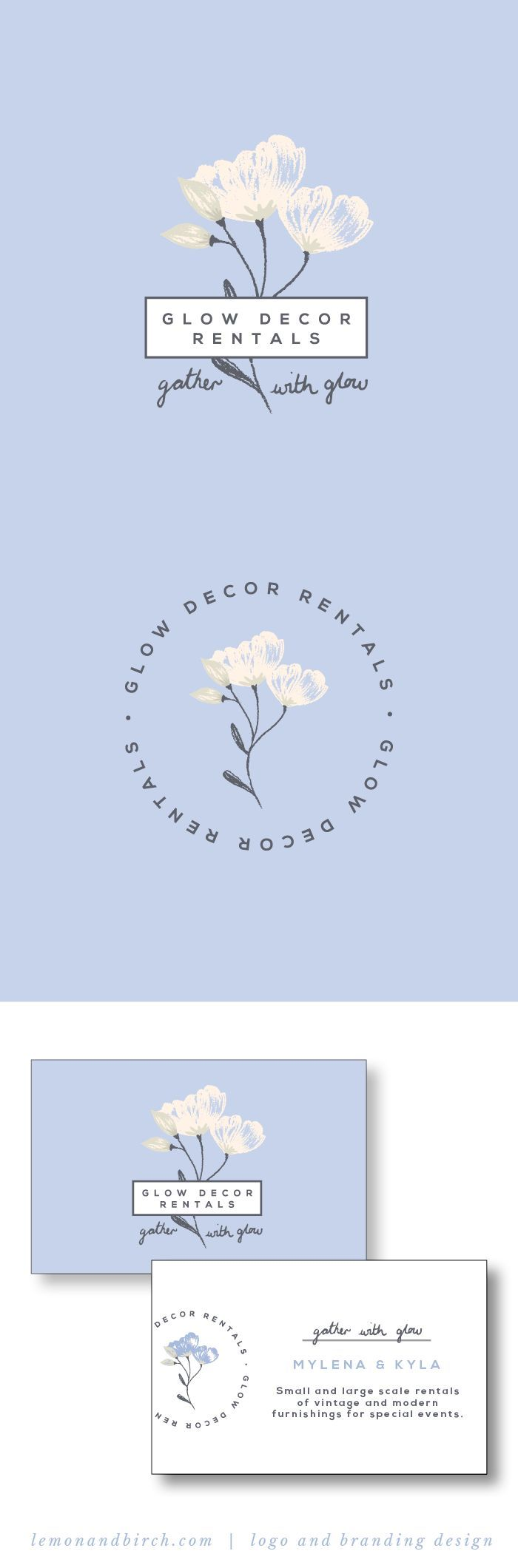Logo and branding design for destination wedding venue and wedding furniture rentals in British Columbia. Classy, feminine logo design with a touch of quirky personality. Brand style guide | floral logo design | feminine branding | sweet and pretty logo