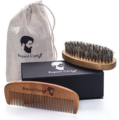 Kit De Brosse à Barbe Et Barbe Peigne Pour Hommes Toilettage Et Soin De La Barbe – Set De Peigne En Bois Et Brosse En Soie Poils De…