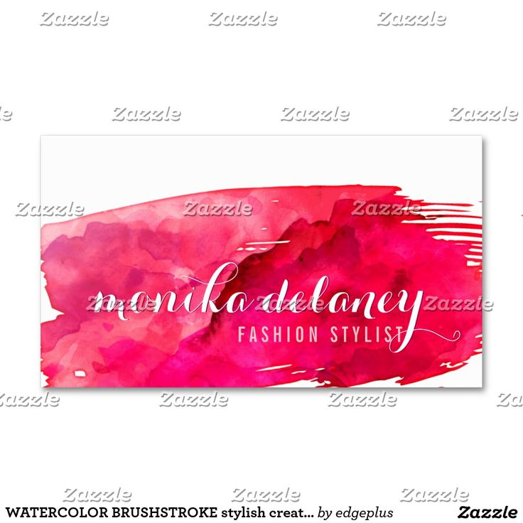 水彩画ブラシストロークスタイリッシュで創造的で粋な赤 スタンダード名刺
