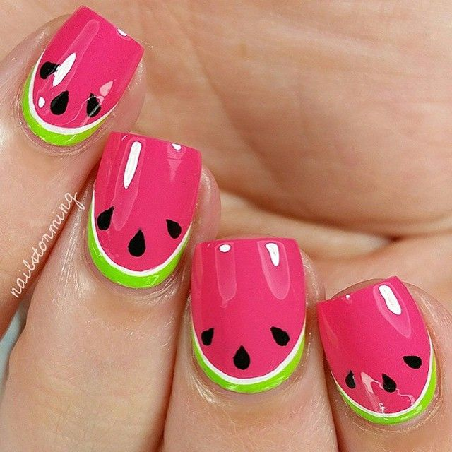 Cute watermelon nails for the watermelon season design by @NailStorming