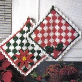 Free Christmas Checkered Hot Pad Crochet Pattern
