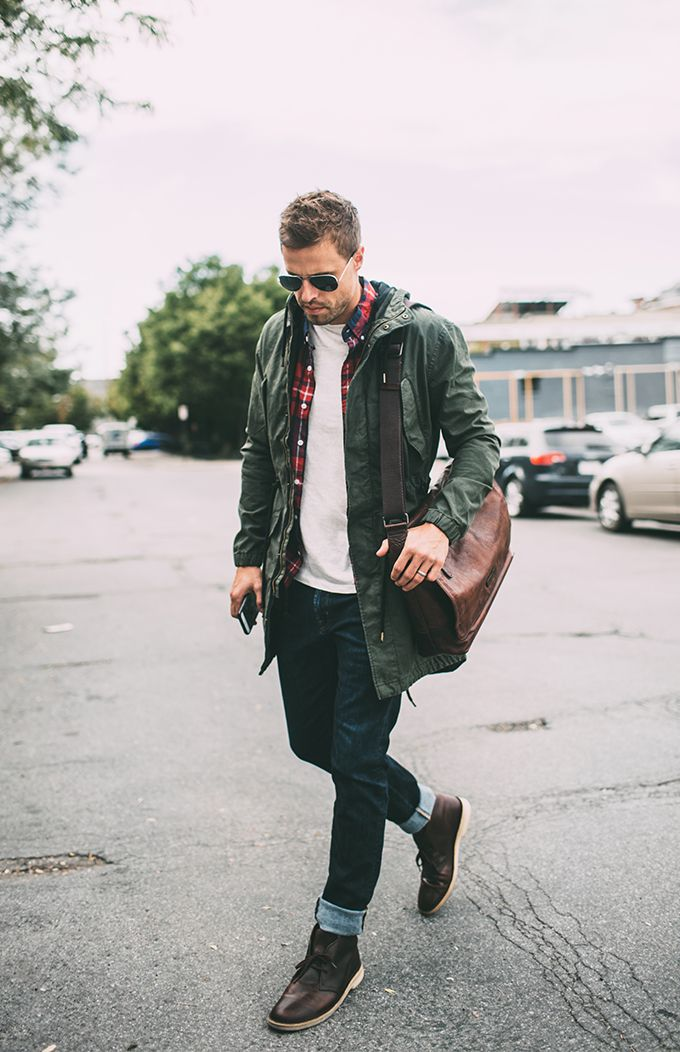 | WEARING | :WHITE T-SHIRT |DENIM JEANS | PLAID BUTTON DOWN | GREEN JACKET|LEATHER BAG | SUNGLASSES |DESERT BOOT Boots aren't just about trudging through the snow. They are a must for m…
