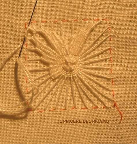 Needle Weaving on fabrics..... Il Piacere del ricamo: Nuova stellina cilaos