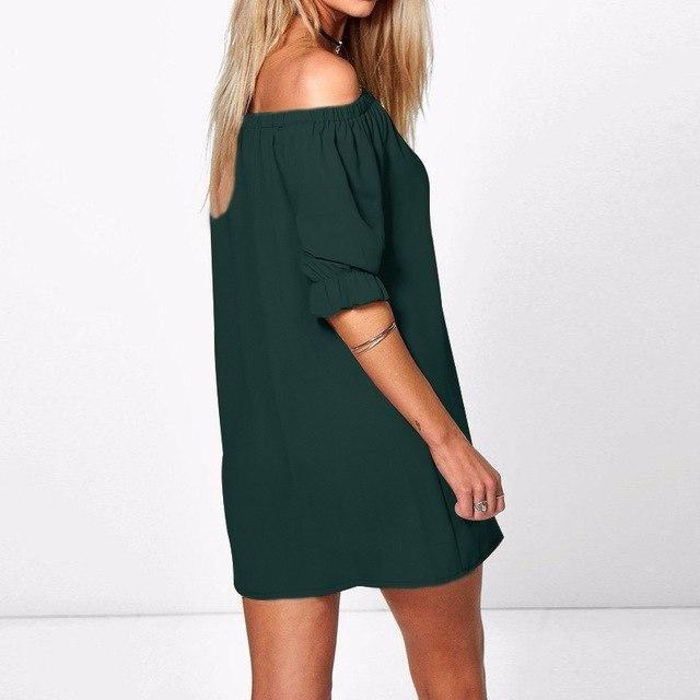 2018 ZANZEA 8 Colors Women Dress Sexy Off Shoulder Party Short Dress Casual  Loose Half Sleeve Mini Shirt Dresses Plus Vestidos 91ee692cc81d