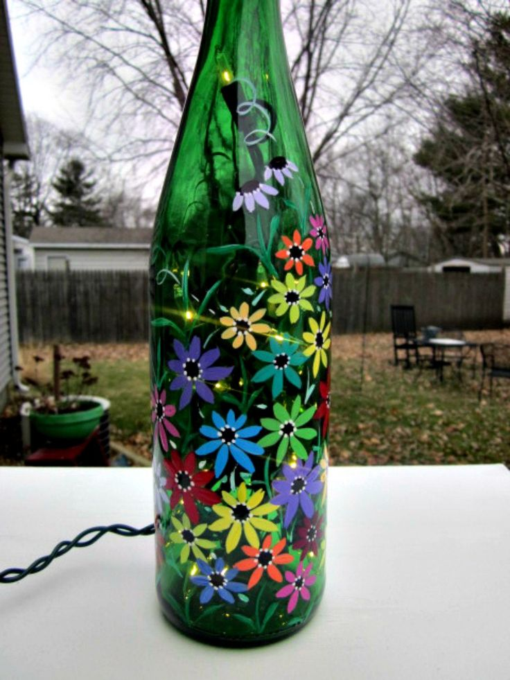 17 best images about glass on pinterest bottle glass for How to paint glass bottles