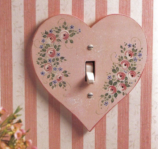 heart switch plate - shabby chic