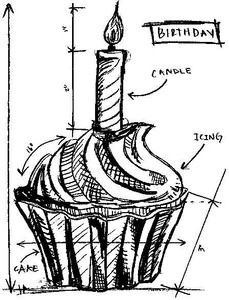 *Tim Holtz Rubber Stamp BIRTHDAY SKETCH Stampers Anonymous P1-2094