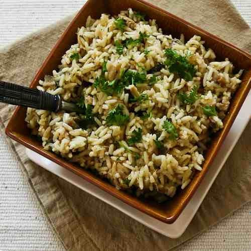 CrockPot Rice Recipe with Dried Mushrooms, Herbs, and Parmesan