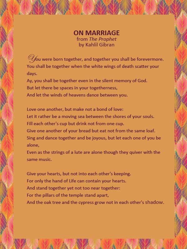 Wedding reading from The Prophet by Kahlil Gibran #wedding