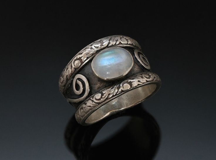 Rainbow Moonstone Silver Ring - Black Patina - Embossed Silver - Wide Double Band - Spirals Waves - Tapered Ring - Handmade in BC Canada by Fullmoonjoolz on Etsy