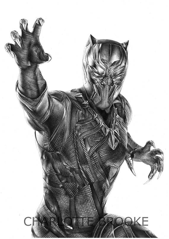 Black Panther Pencil Portrait Drawing Price A3 Size 15 00 A4