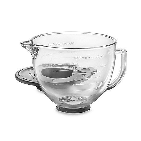 This 5-quart glass bowl is made for KitchenAid's® tilt-head stand mixers. It features easy-to-use measuring lines, comfort handle, pour spout and lid.