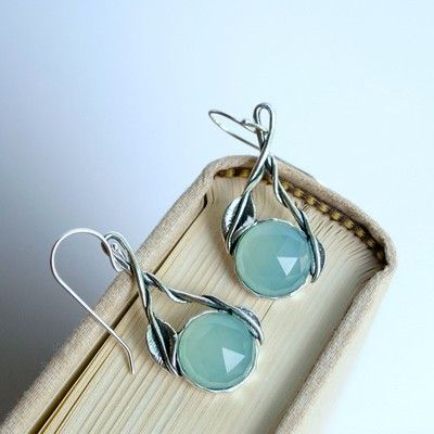 """RockHill Designs LLC - Fanciful, serene and fluid define these artistic treasures.  Tender yet strong these 1/2"""" diameter faceted aqua chalcedony hang from sterling silver twisted vines on sterling french ear wires.  Handcrafted. Measures 1 3/4"""" long."""
