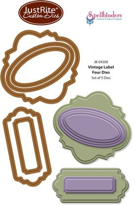 JustRite custom dies are manufactured by Spellbinders. JustRite Vintafe Labels Four Dies. Designed to coordinate with JustRite Clear and Cling Stamps. Dies cut and emboss and work in most diecutting machines