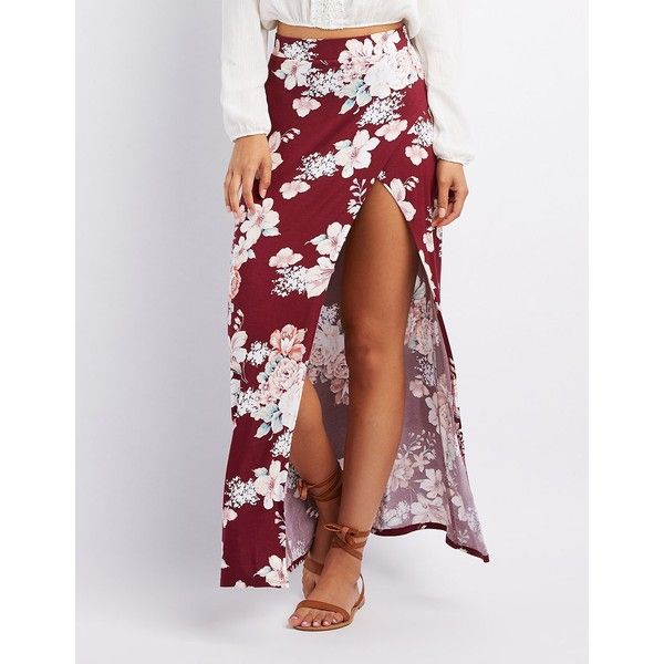 Charlotte Russe Floral Wrap Slit Maxi Skirt ($16) ❤ liked on Polyvore featuring skirts, burgundy, slit maxi skirt, summer maxi skirts, long skirts, wrap skirts and long maxi skirts
