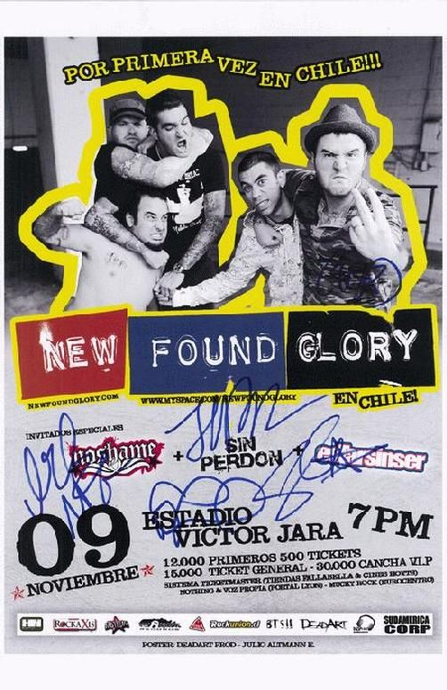 Original AUTOGRAPHED concert poster for New Found Glory in Chile in 2009. Hand-Signed by Jordan Pundik, Chad Gilbert, Steve Klein, Ian Grushka, and Cyrus Bolooki.  Includes a Certificate of Authenticity. 11 x 17 inches.
