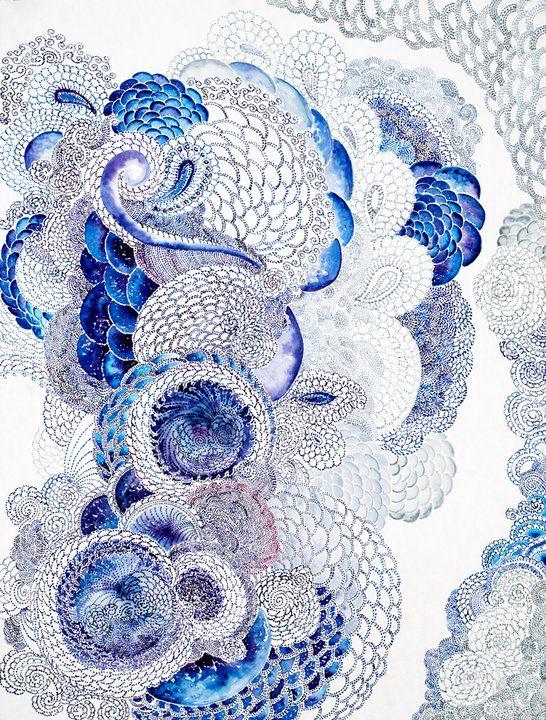 yummy blue Zentangle... watercolor pencils???