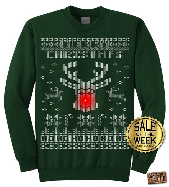"Rudolph ""LIGHT UP"" Ugly Christmas Sweater party -  Men, Ladies, unisex in Black, Dark Green, Navy, Red, Hot Pink  s,m,l,xl, xxl, 3xl"