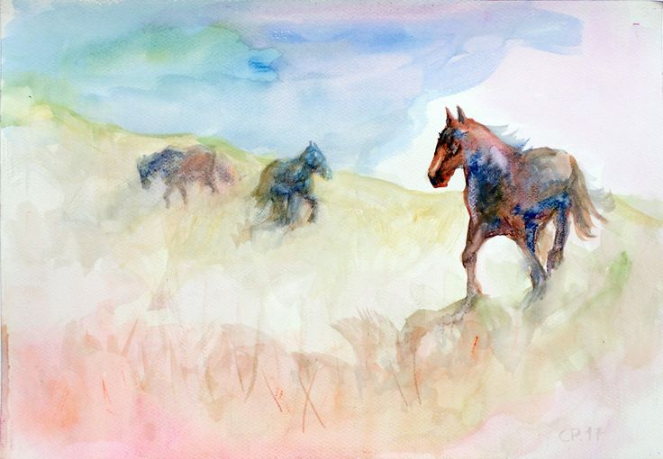 Horses, watercolor on paper