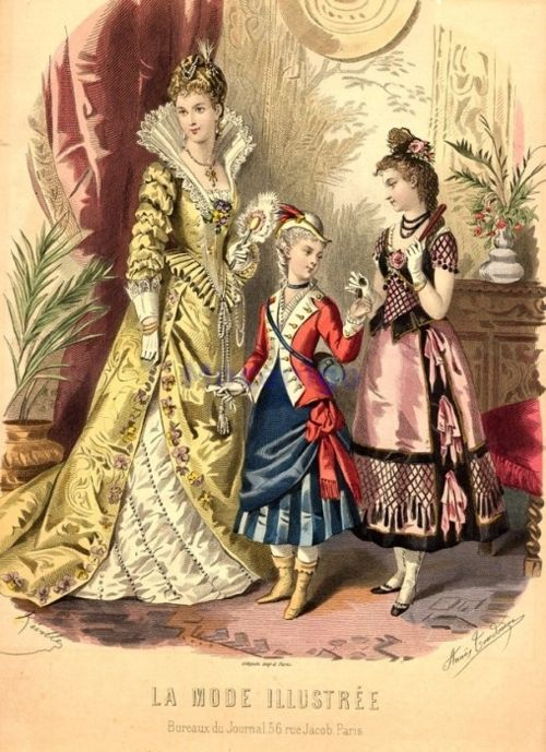 Fancy dress, 1877 France, La Mode Illustree        The woman's costume is supposed to be Elizabethan, but I'm not entirely sure what the kids are supposed to be.    I'm pretty sure the little girl in the middle is a Revolutionary War soldier, which is a pretty freaking sweet fancy dress!  I'll have to add this to the giant to-be-made list!