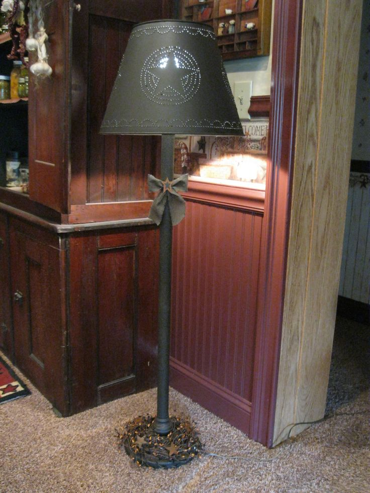 Grubby Primitive Floor Lamp with Tin Shade https://www.facebook.com/pages/Primitive-Country-Treasures/100991083354848