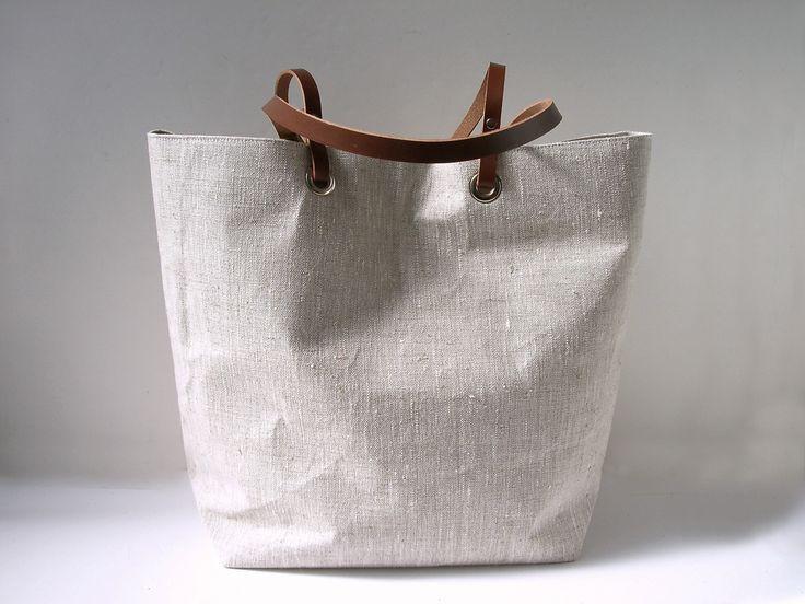 Simple, Natural Linen Beach Bag