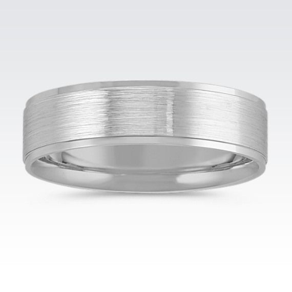 ShaneCo.com: 14K White Gold Comfort Fit Wedding Band with Satin Finish 6mm