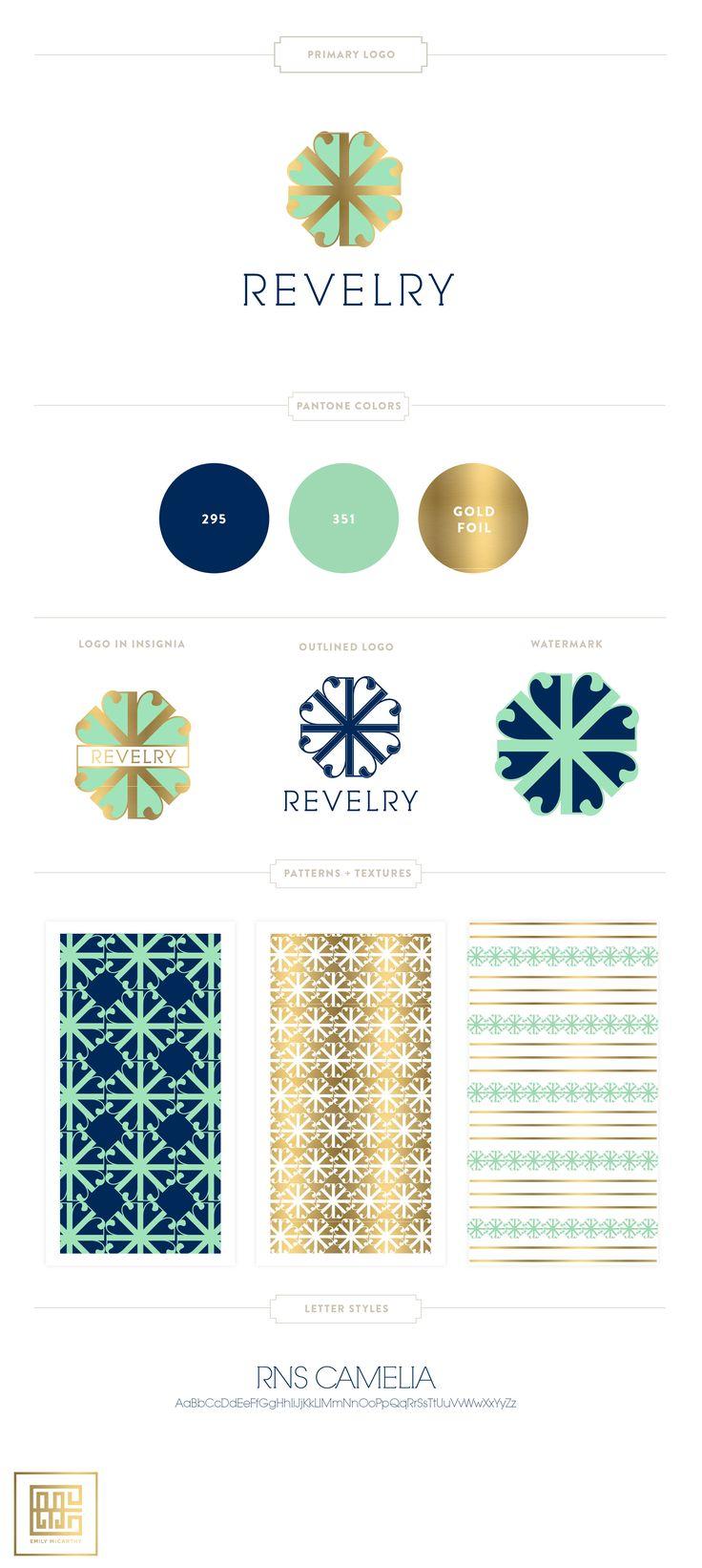 Branding Design for Revelry Dresses | Gold Foil, Mint and Navy, Custom Monogram by Emily McCarthy