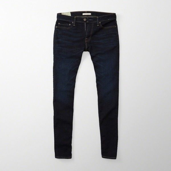 Abercrombie & Fitch Super Skinny Jeans (125 BRL) via Polyvore featuring men's fashion, men's clothing, men's jeans, dark wash, mens skinny jeans, mens super skinny stretch jeans, mens super skinny jeans, mens skinny fit jeans e mens stretch skinny jeans