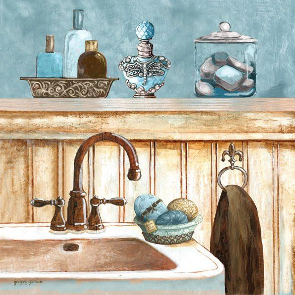 blue bath ii art print poster by gregory gorham online on sale at wall art store bathroom