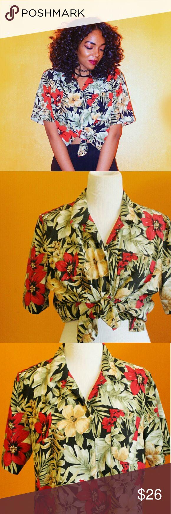 Vintage Red/Green/Black Hawaiian Shirt Great button down shirt! Tops Button Down Shirts