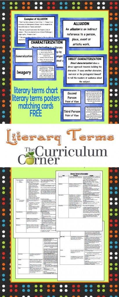 Advanced Literary Terms Chart, Posters, Matching Cards FREE from The Curriculum Corner | This collection is perfect for intermediate and middle school classrooms!